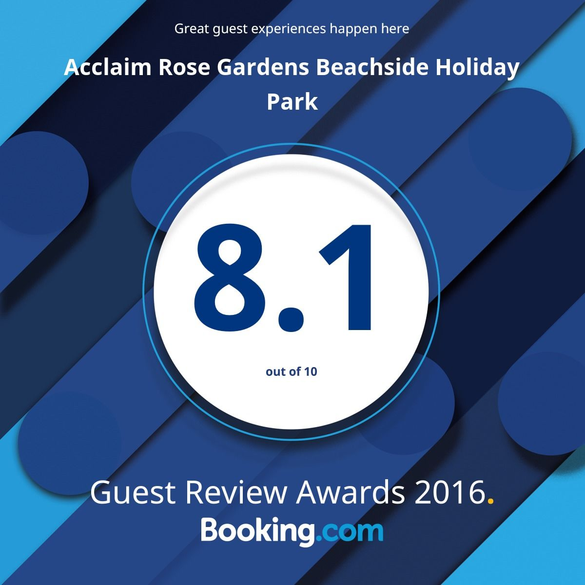 Acclaim Rose Gardens Beachside Holiday Park Booking.com 2016 Customer Review Award